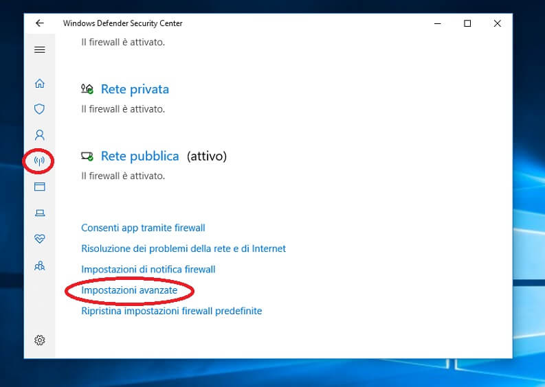 Disattivare Defender Firewall su Windows 10