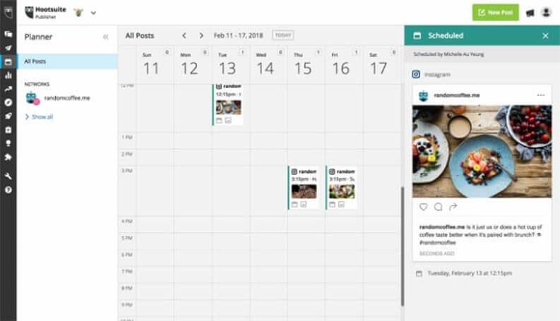 hootsuite - top strumento per programma post sui social network