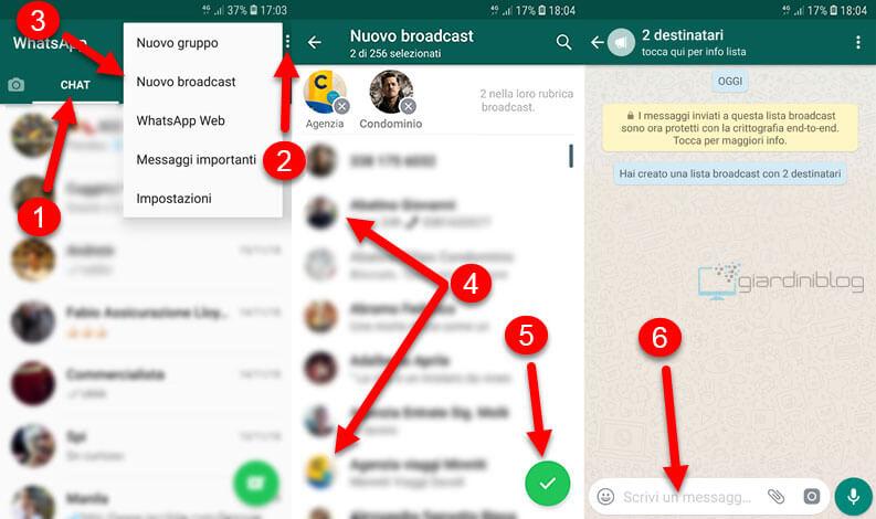 Inviare un messaggio a piu persone su WhatsApp broadcast