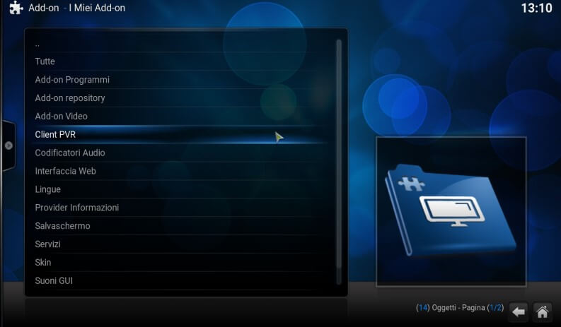 client PVR tra gli add on di Kodi