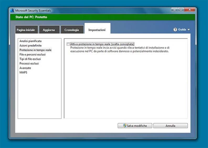 Disattivare Windows Defender su Windows 7
