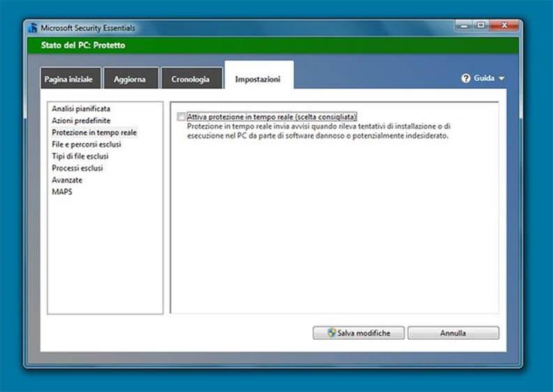 Disattivare Windows Defender su Windows 7