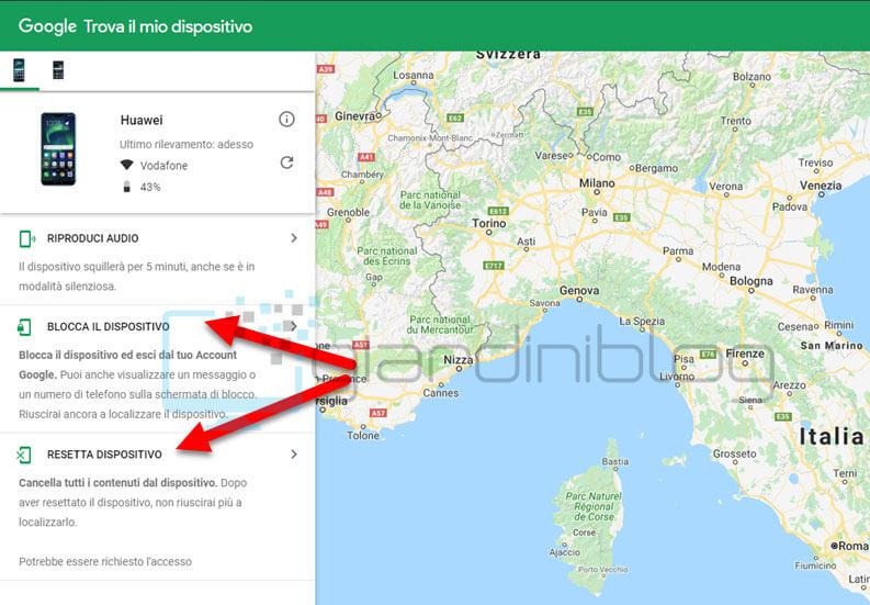 comoe bloccare smartphone android da remoto
