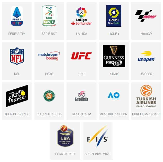 dazn eventi sportivi disponibili
