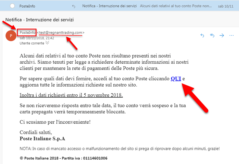 mail phishing poste italiane