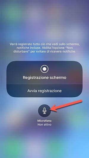 registrazione audio con schermo iphone