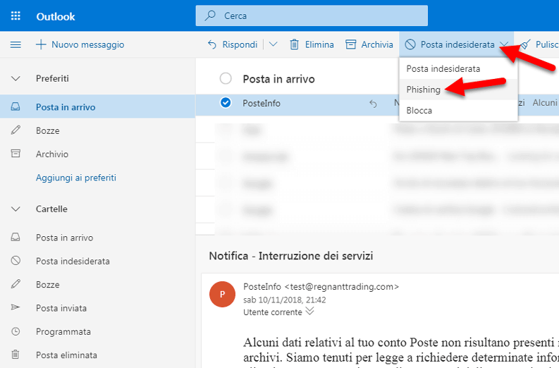come segnalare mail phishing