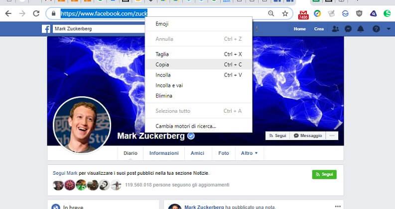 copiare link indirizzo web di facebook