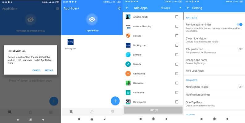 nascondere alcune app su telefono Android
