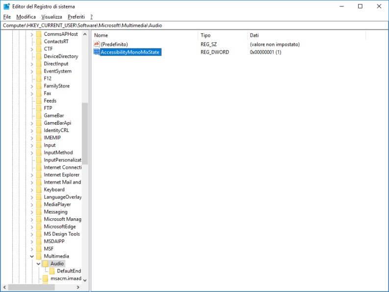AccessibilityMonoMixState editor del registro sistema
