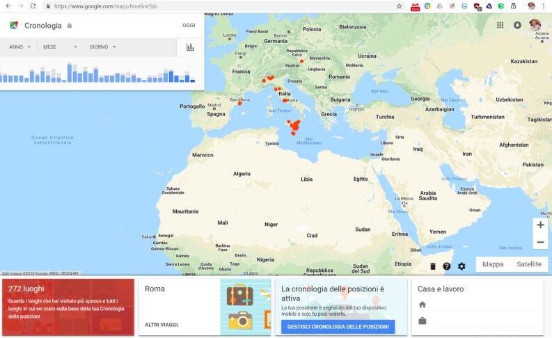 dati della cronologia posizioni di google