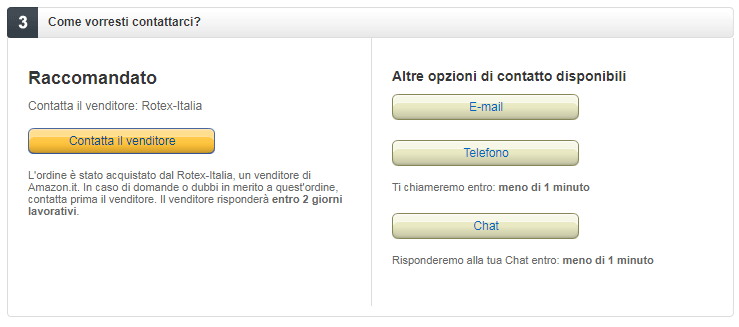 come farsi telefonare o chattare con amazon