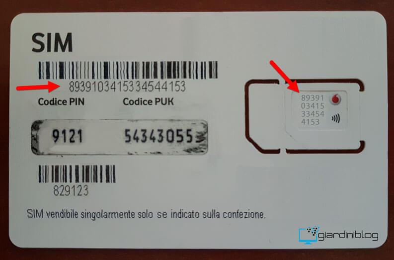 sim card info seriale numero iccid codice