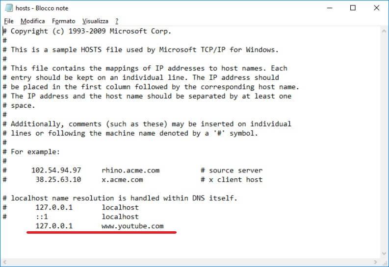Bloccare un sito su Windows
