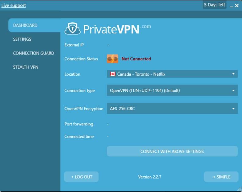 client VPN per connessione tramite PrivateVPN
