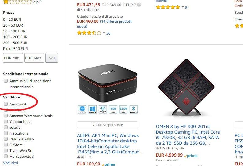 cercare prodotti venduti e spediti da Amazon