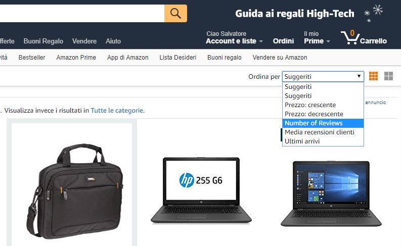 prodotti Amazon per numero di recensioni