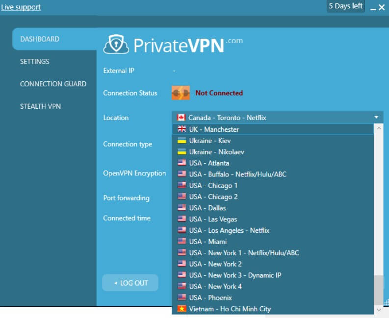 private vpn e server disponibili