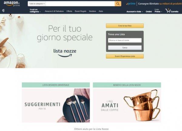 Creare lista nozze su Amazon