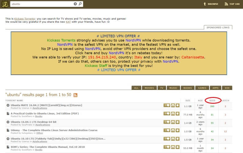 KickAss Torrents: ricerca