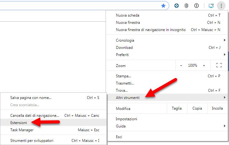 menù estensioni google chrome
