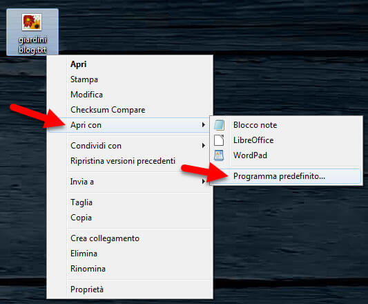 apri con windows programmi predefiniti