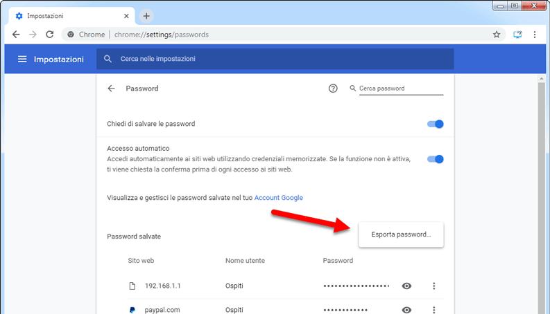 come esportare password da google chrome