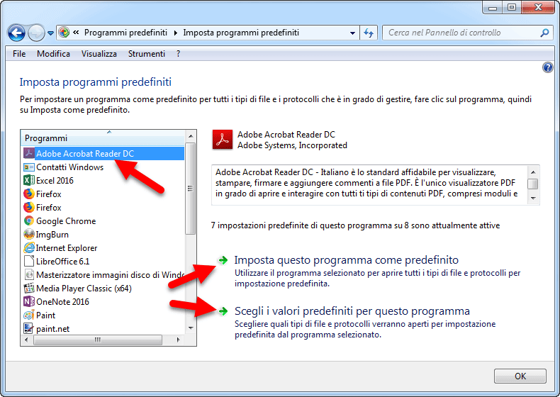cambiare programmi predefiniti windows 7
