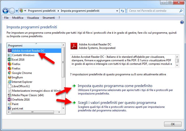 cambiare programmi predefiniti windows 7