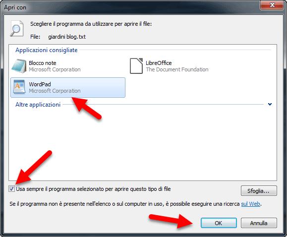 usa sempre il programma selezionato per aprire questo tipo di file