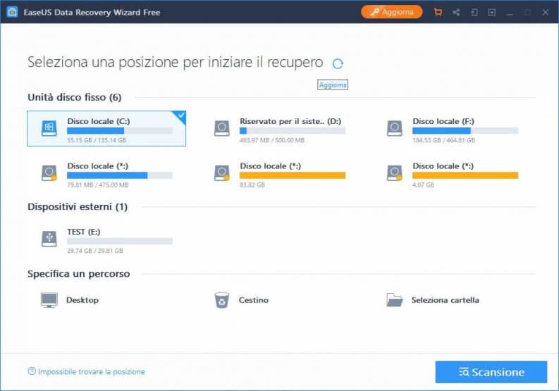 Software gratuito per il recupero dati: EaseUS Data recovery