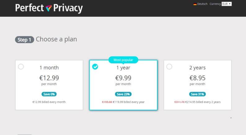scegli un piano di perfect privacy