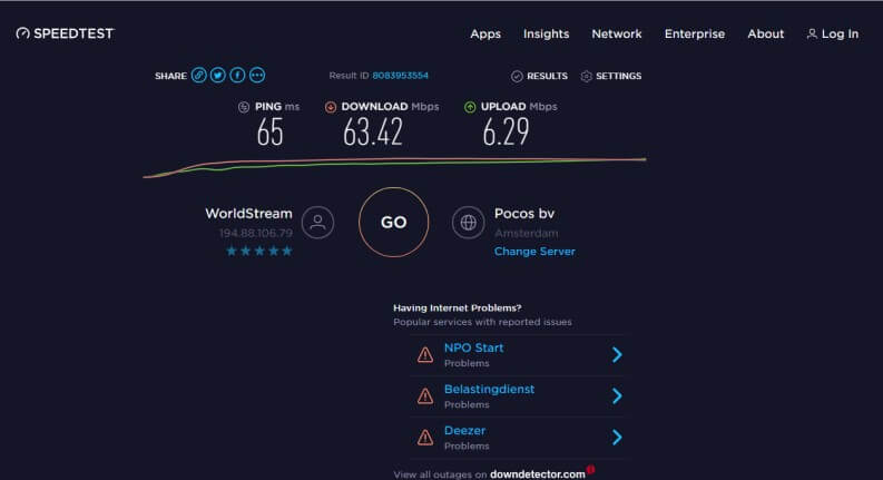 Surfshark: speedtest