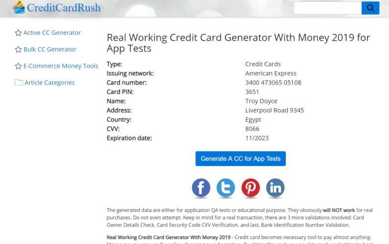 Generatore carte di credito: Credit Card Rush