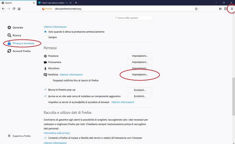 Bloccare notifiche su Firefox
