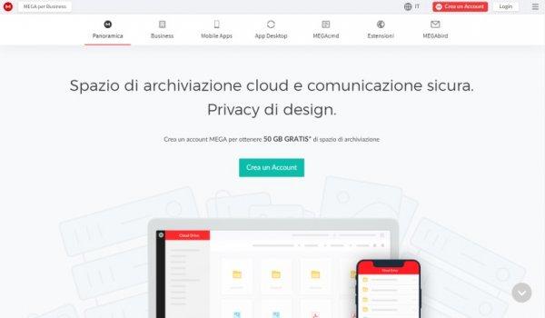 Cloud gratuiti: mega.nz