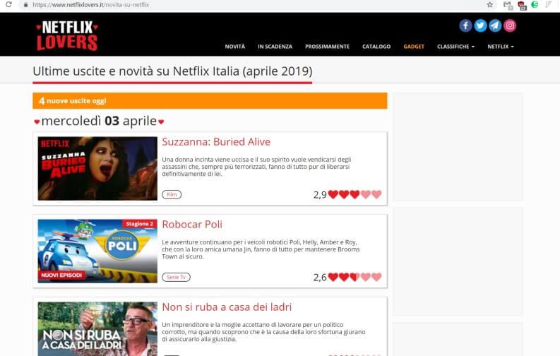 Monitorare aggiornamenti catalogo: Netflix Lovers