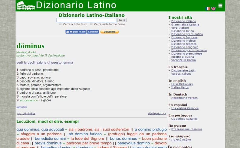 Dizionario latino online