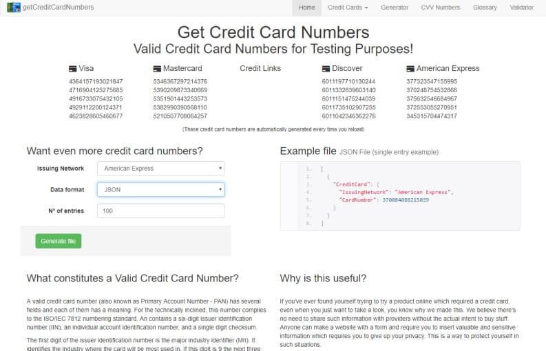 Generatore carte di credito: Get Credit Card Numbers