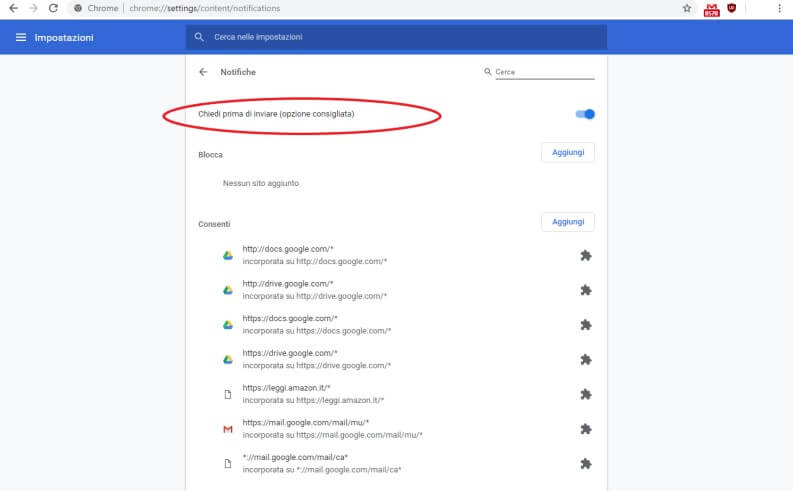 Bloccare notifiche sul browser di Google Chrome