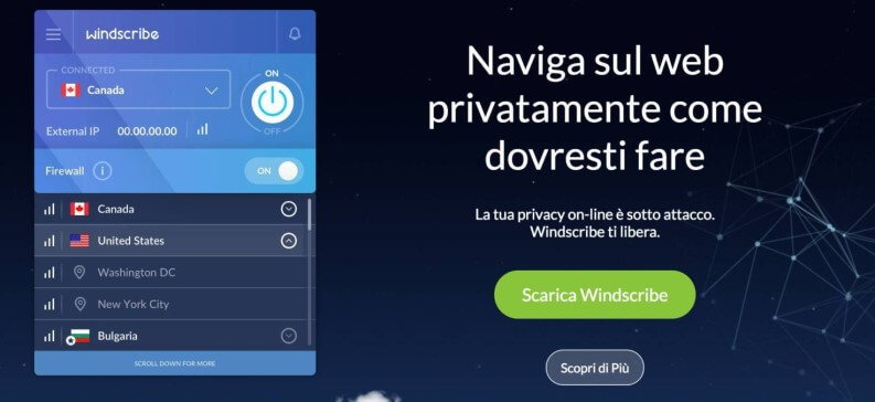 VPN gratis: Windscribe