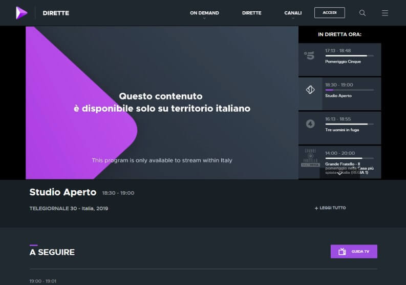 tv italiana streaming blocco