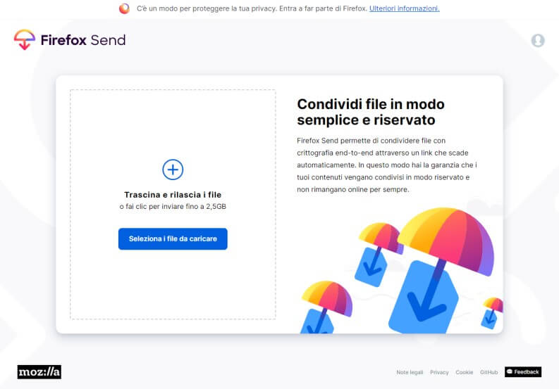 Firefox Send: home