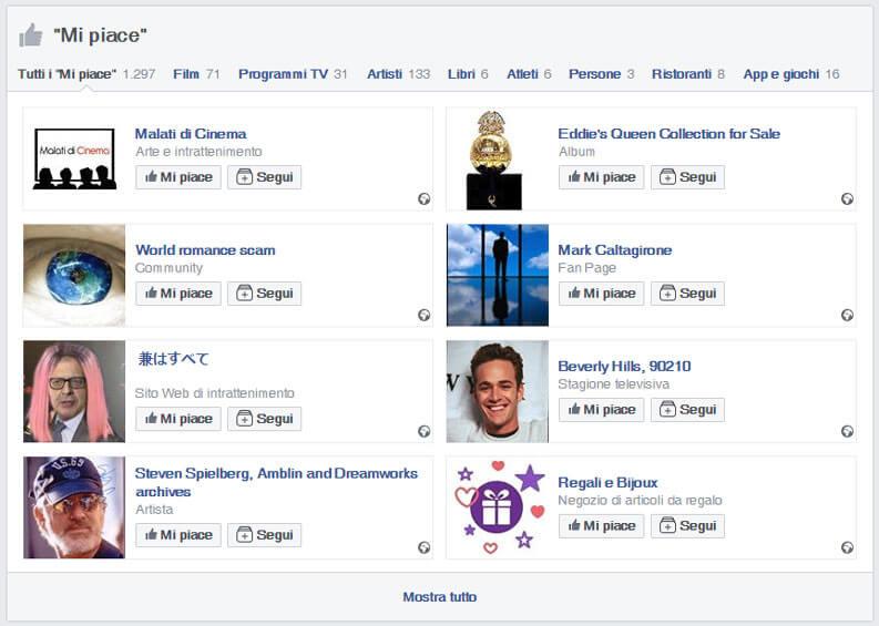 mi piace profilo facebook