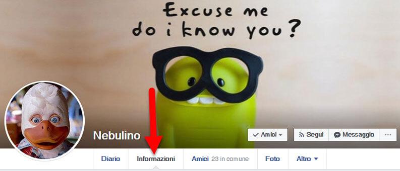 scheda informazioni profilo su facebook
