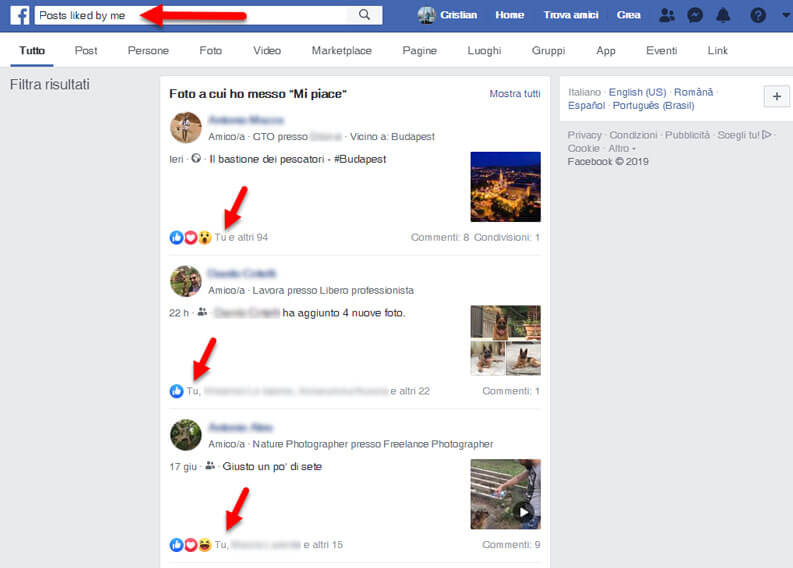 how to see like posts facebook