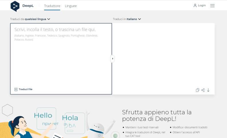 traduzione file di testo Online con DeepL Translator