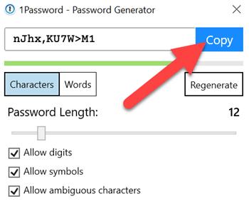 Copiare Password Generata