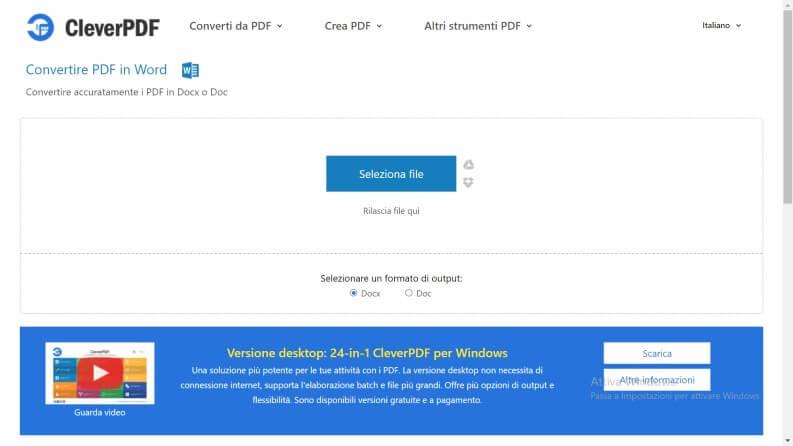 Convertire PDF in Word: CleverPDF seleziona file