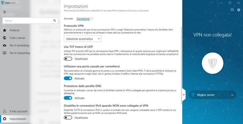 ZenMate VPN impostazioni